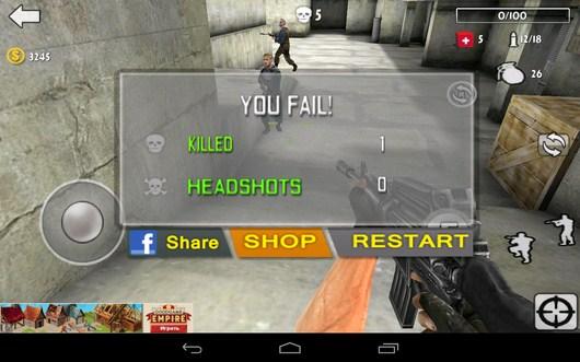 Проигрыш - Gun Strike 3D для Android
