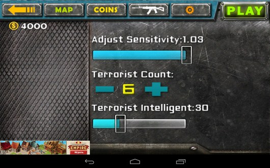 Настройки управления - Gun Strike 3D для Android