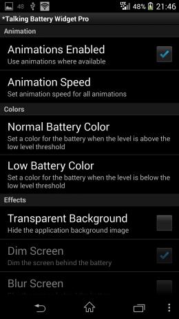 Настройки - Talking Battery Widget для Android