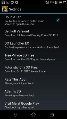 Настройки - Fantasy Forest 3D  для Android для Android
