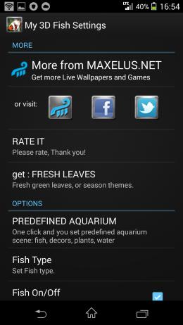 Настройки - My 3D Fish для Android