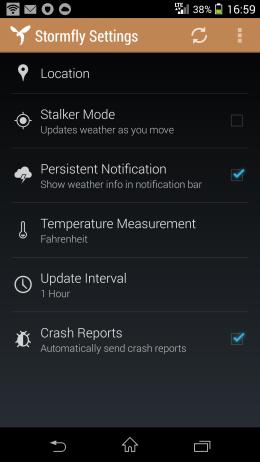 Настройки - Stormfly для Android