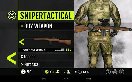 Выбор оружия - Sniper Tactical для Android