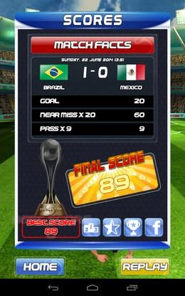 Результат игры - World Cup Run для Android