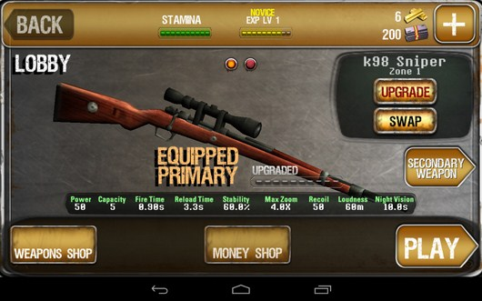 Меню - iHunt Z для Android