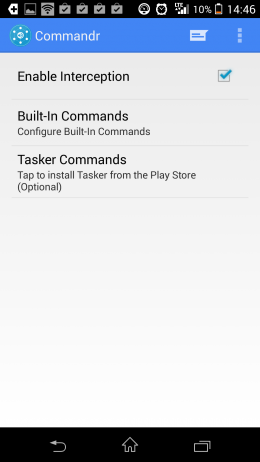 Меню - Commandr for Google Now для Android