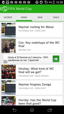 Новости - ESPN FC Soccer & World Cup для Android