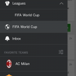 Меню - ESPN FC Soccer & World Cup для Android