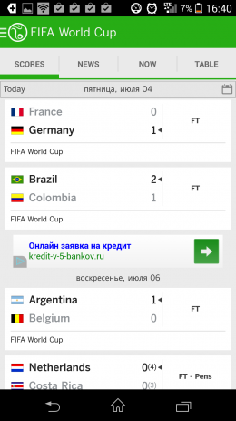 Результаты матчей ЧМ 2014ESPN FC Soccer & World Cup для Android