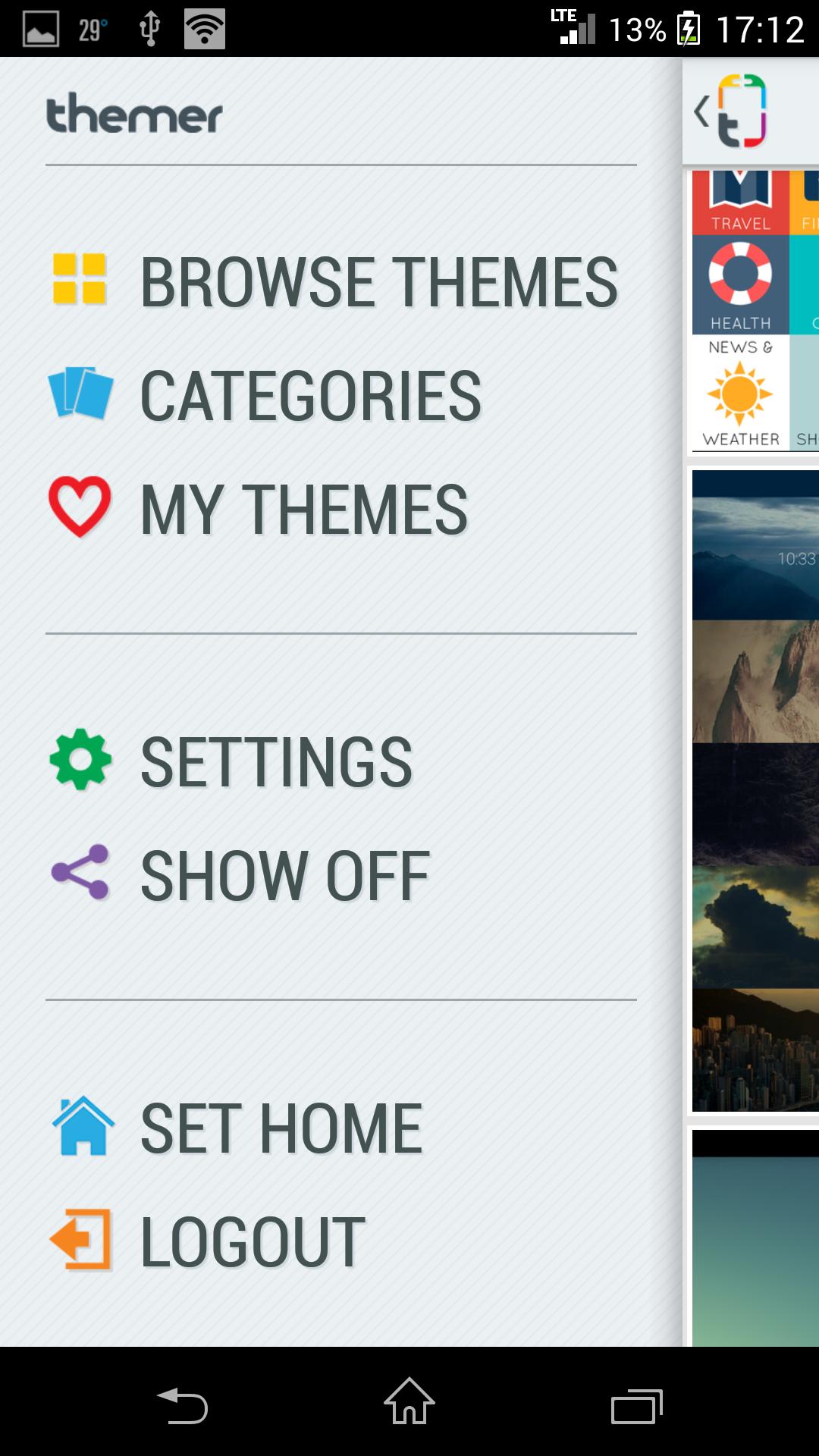 Меню - Themer для Android