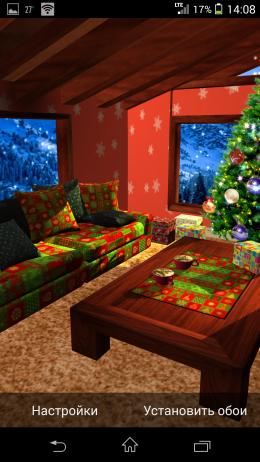 Украшенная комната - Christmas Fireplace LWP для Android
