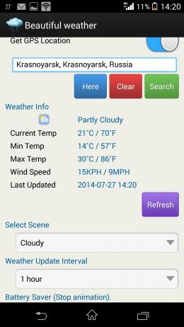 Параметры - Beautiful weather & LWP для Android
