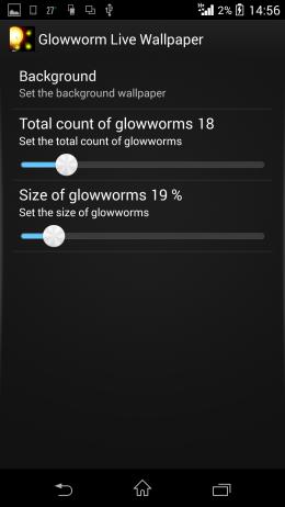 Настройки - Glowworm Live Wallpaper для Android