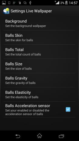 Настройки - H Screen Balls Live Wallpaper для Android