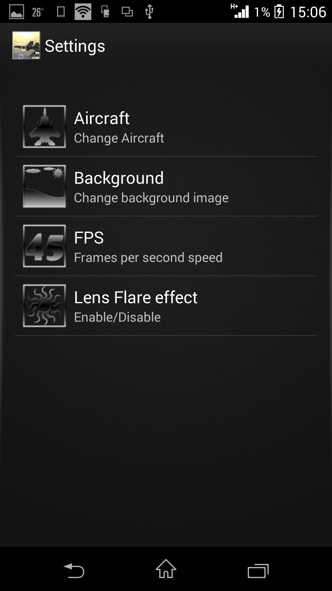 Настройки - Steel Birds 3D LWP для Android