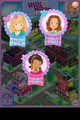 Выбор персонажа в игре Holly Hobbie & Friends Party