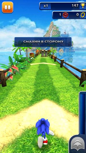 Соник готовится бежать в игре Sonic Dash для Андроид