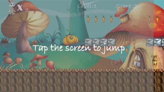 Коснитесь, чтобы прыгнуть в игре Bunny Run для Андроид