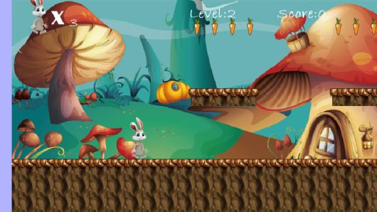 Кролик собирает морковку в игре Bunny Run