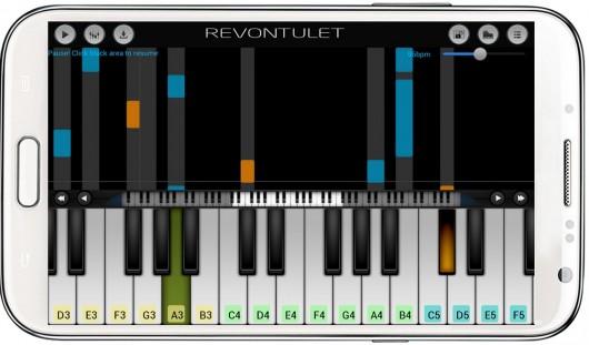 Приложение Perfect Piano для Android - звуковая шкала во время игры