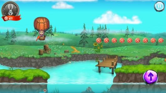 Маша на шарике в игре Маша и Медведь: игра для Samsung Galaxy