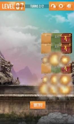 Взрывы ящиков на разных локациях в игре Switch The Box для Samsung Galaxy