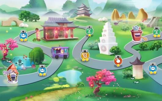 Меню прогресса по городам в игре Kitchen Scramble для Android
