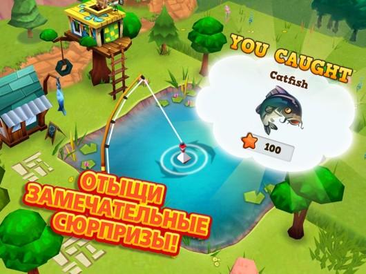 Рыболовля в игре История фермы 2 для Samsung Galaxy