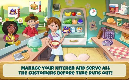 Девушка готовит еду в игре Kitchen Scramble для Android