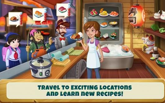 Девушка путешествует по странам и готовит еду в игре Kitchen Scramble для Android