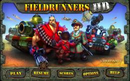 Fieldrunners HD - меню