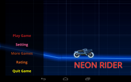 Neon Rider - меню