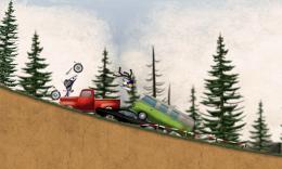 Stickman Downhill - Motocross - авария