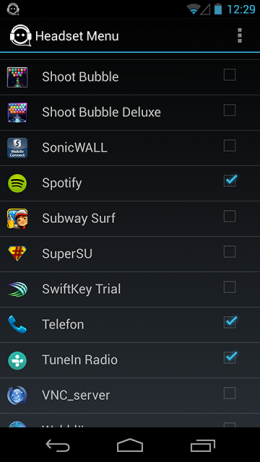 Список - Headset Menu для Android