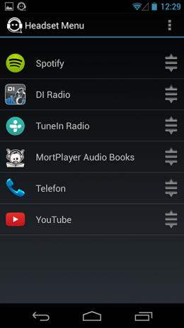 Перестановка - Headset Menu для Android