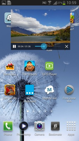 Pop-up режим  - DicePlayer для Android