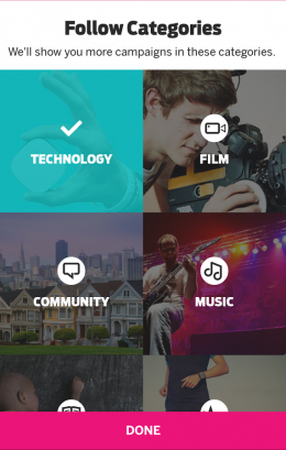 Меню - Indiegogo для Android