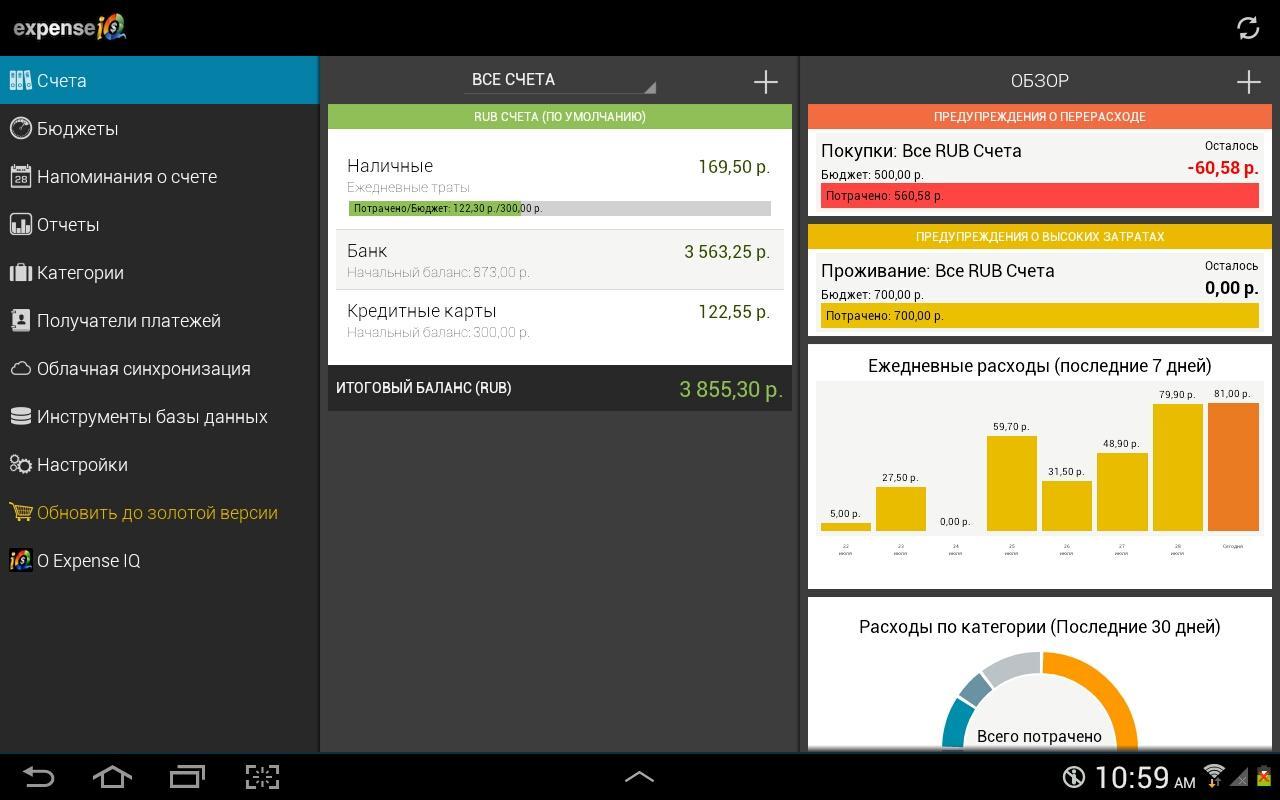 Графики - Expense IQ для Android