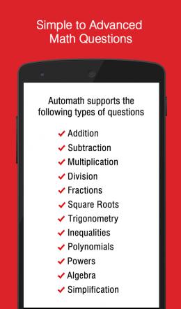 Возможности- AutoMath Photo Calculator для Android