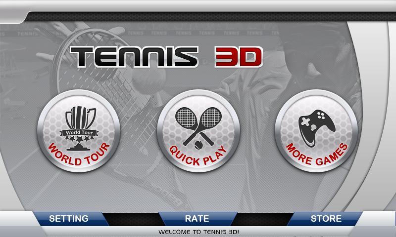 Меню - 3D Tennis для Android