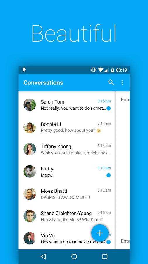 Интерфейс - QKSMS для Android