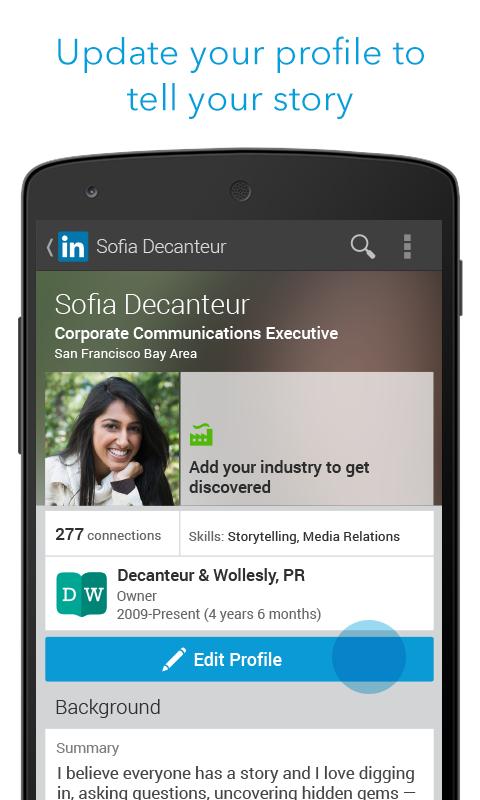 Профиль - LinkedIn для Android