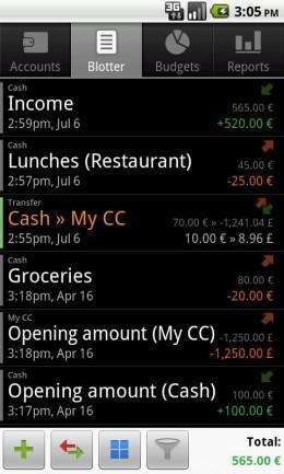 Операции - Financisto для Android
