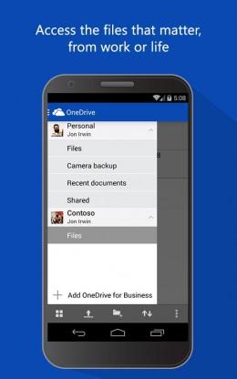 Меню - OneDrive для Android