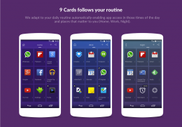 Интерфейс - 9 Cards Home Launcher для Android