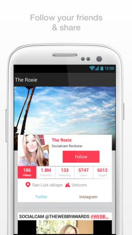 Пользователь - Socialcam для Android