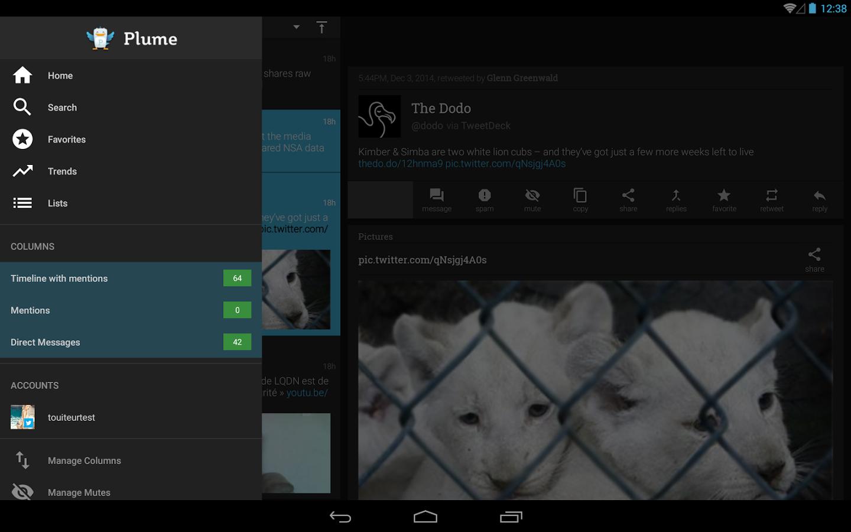 Меню - Plume для Android