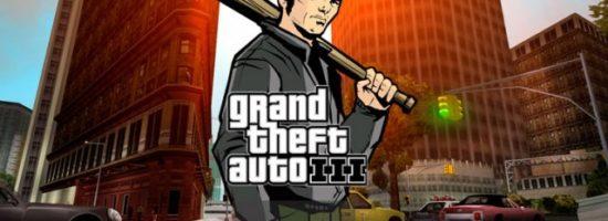 Нарисованный мужчина с бейсбольной битой на фоне логотипа GTA 3
