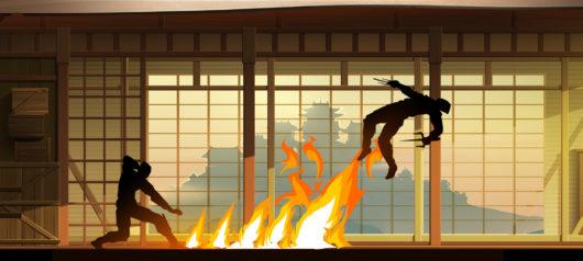 Драка персонажей в Shadow Fight 2