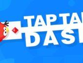 Нарисованная красная птица из игры Tap Tap Dash на синем фоне